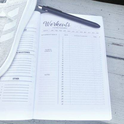 Work out log page with sneakers